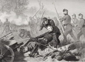 Death of General Isaac Stevens (1818-62) during the attack on Chantilly, Viriginia 1862