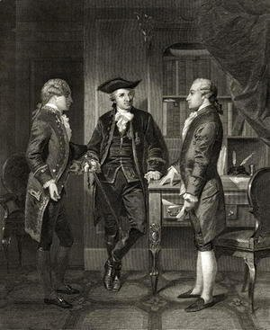 Baron de Kalb (centre) introducing Lafayette to Silas Dean, from 'Life and Times of Washington', Volume I, published 1857