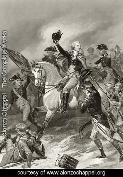 George Washington at the Battle of Princeton, January 3rd 1777, from 'Life and Times of Washington', Volume I,  1857