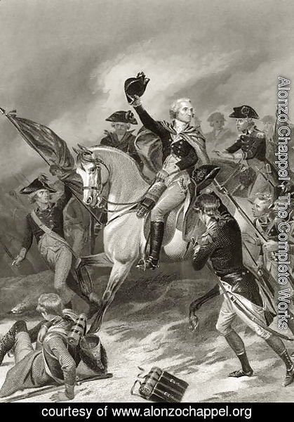 Alonzo Chappel - George Washington at the Battle of Princeton, January 3rd 1777, from 'Life and Times of Washington', Volume I,  1857