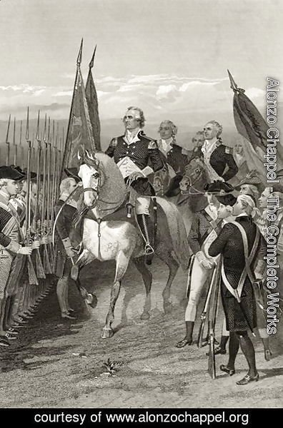 George Washington taking command of the Army, 1775, from 'Life and Times of Washington', Volume I,  1857