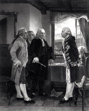 Alonzo Chappel - The Peace Conference on Staten Island, Interview between Lord Howe and the Committee of Congress, 11th September 1776