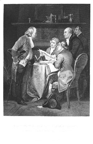 Drafting the Declaration of Independence in 1776, 1859